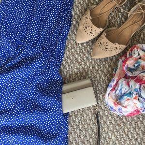 Moda International Dresses - Retro blue dress with POCKETS!